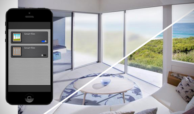Smart Phone App Turing Smart Glass On & Off in Living room Over looking Ocean